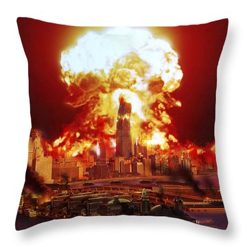 Chicago Disintegrates As A Nuclear Throw Pillow by Ron Miller