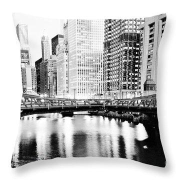 Chicago Downtown At Clark Street Bridge Throw Pillow by Paul Velgos