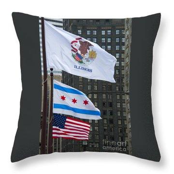 Chicago Flags Throw Pillow by Ann Horn