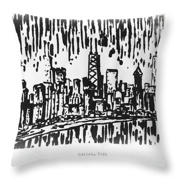 Throw Pillow featuring the painting Chicago Great Fire Of 1871 Serigraph Of Skyline Buildings Sears Tower Lake Michigan Hancock Bw by M Zimmerman