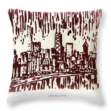 Throw Pillow featuring the painting Chicago Great Fire Of 1871 Serigraph Of Skyline Buildings Sears Tower Lake Michigan John Hancock  by M Zimmerman
