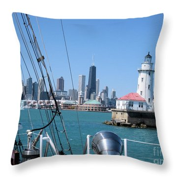 Chicago Harbor Lighthouse Throw Pillow by Sonia Flores Ruiz
