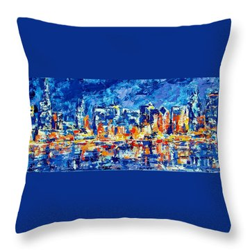 Chicago Lake Front Throw Pillow by Kat Griffin