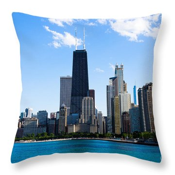 Chicago Lakefront With John Hancock Building Throw Pillow by Paul Velgos