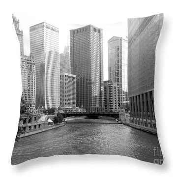 Chicago River - Black And White Throw Pillow