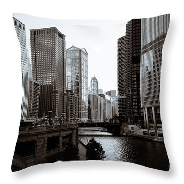 Chicago River Downtown Buildings In Black And White Throw Pillow by Paul Velgos