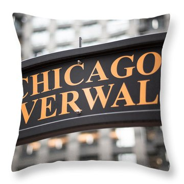 Chicago Riverwalk Sign Throw Pillow by Paul Velgos