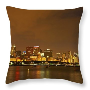 Chicago Skyline At Night Throw Pillow by Axiom Photographic