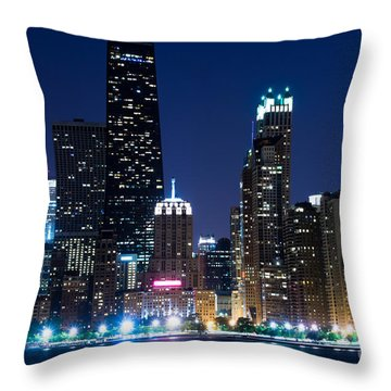 Chicago Skyline At Night With John Hancock Building Throw Pillow by Paul Velgos