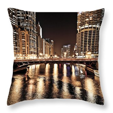 Chicago Skyline At State Street Bridge Throw Pillow by Paul Velgos