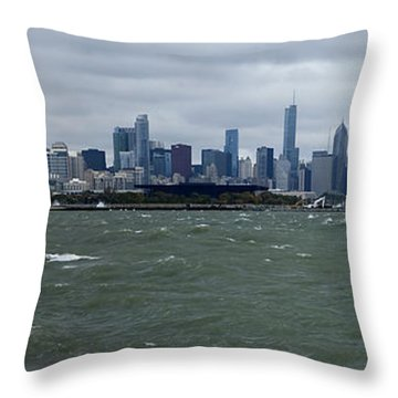 Chicago Skyline In October Throw Pillow