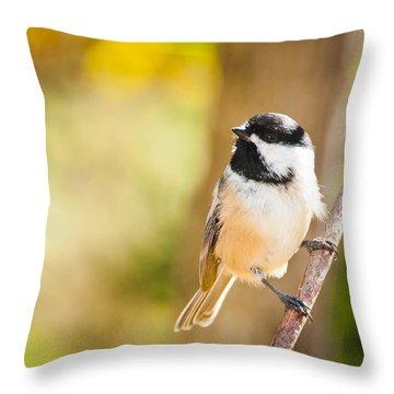 Throw Pillow featuring the photograph Chickadee by Cheryl Baxter