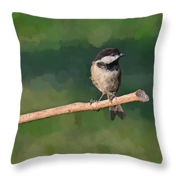 Chickadee On A Stick Throw Pillow by Debbie Portwood