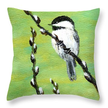Throw Pillow featuring the painting Chickadee On Pussy Willow - Bird 2 by Kathleen McDermott