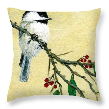 Throw Pillow featuring the painting Chickadee Set 4 - Bird 1 - Red Berries by Kathleen McDermott