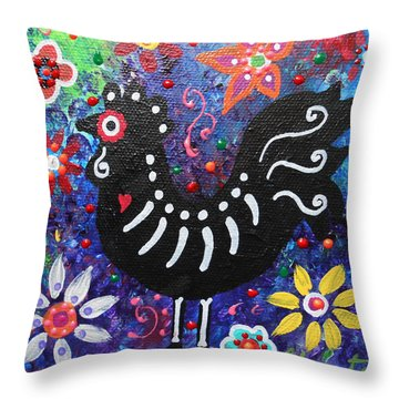 Chicken Day Of The Dead Throw Pillow by Pristine Cartera Turkus