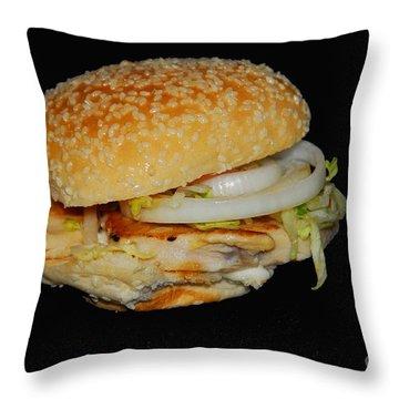 Chicken Sandwich Throw Pillow by Cindy Manero
