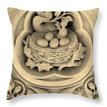 Chicks In Stone In Sepia Throw Pillow by Rob Hans