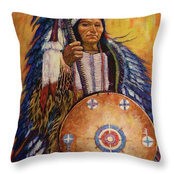 Throw Pillow featuring the painting Chief Two by Charles Munn