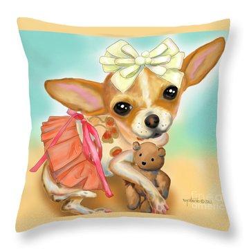 Chihuahua Princess Throw Pillow by Catia Cho