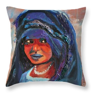 Throw Pillow featuring the painting Child Bride Of The Sahara - Close Up by Avonelle Kelsey
