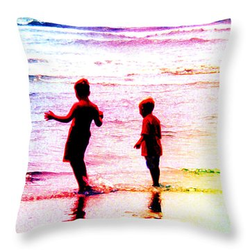 Childhood At The Beach Throw Pillow