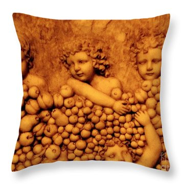 Throw Pillow featuring the photograph Children Among The Grapes by Annie Zeno