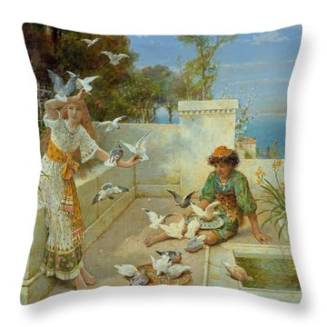Children By The Mediterranean  Throw Pillow by William Stephen Coleman