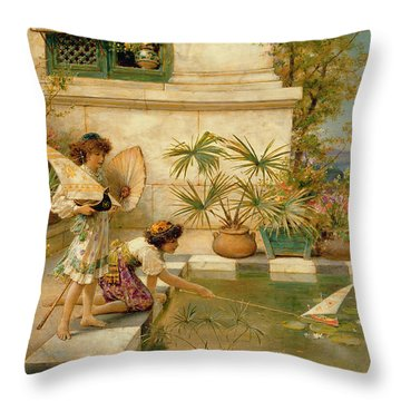 Children Playing With Boats Throw Pillow by William Stephen Coleman