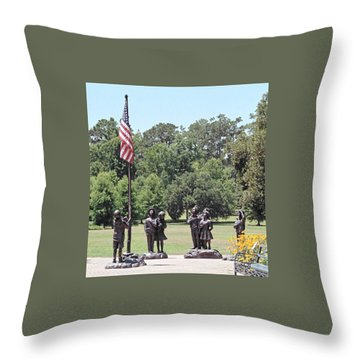 Children Raise The Flag Throw Pillow