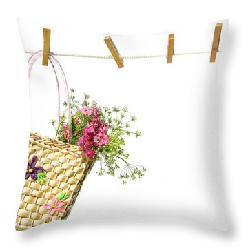 Child's Straw Purse With Flowers Throw Pillow by Sandra Cunningham