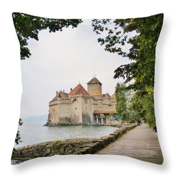 Chillon Castle Throw Pillow by Marilyn Dunlap