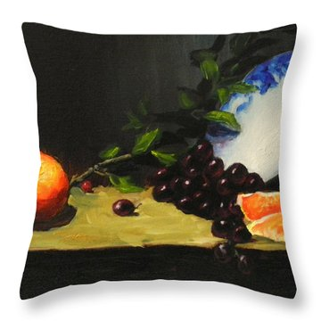 China Bowl And Fruits Throw Pillow