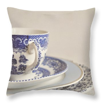 China Cup And Plates Throw Pillow by Lyn Randle