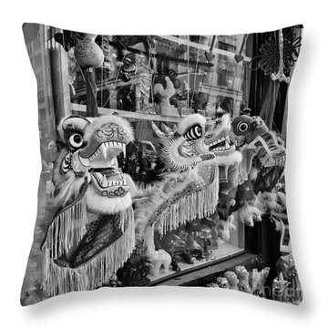 Chinatown Dragons Nyc Throw Pillow by John Farnan