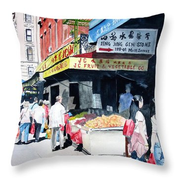 Throw Pillow featuring the painting Chinatown Number One by Tom Riggs