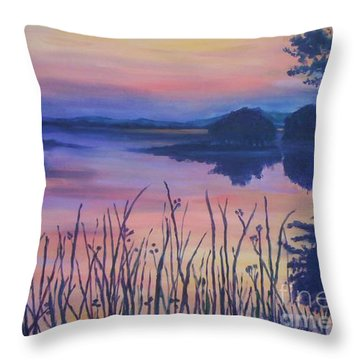 Throw Pillow featuring the painting Chincoteaque Island Sunset by Julie Brugh Riffey