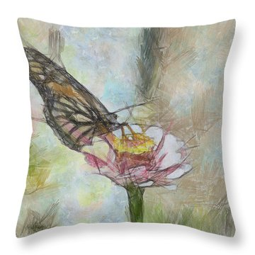 Chinese Butterfly Throw Pillow by Trish Tritz