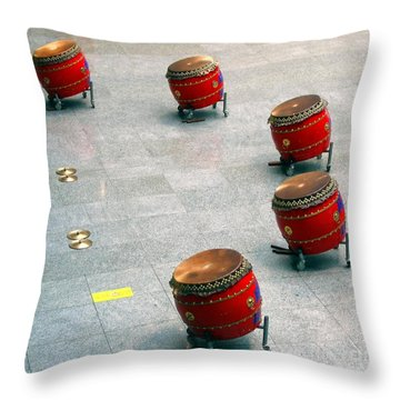 Chinese Drum Set Throw Pillow by Yali Shi