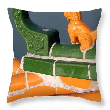 Chinese Roof Detail Throw Pillow by Yali Shi
