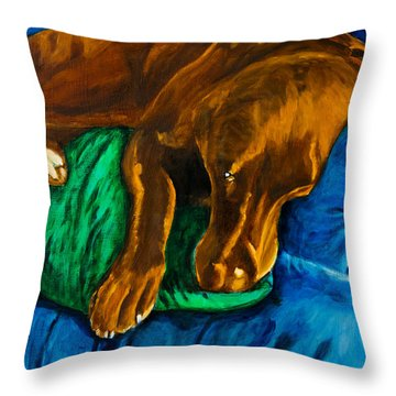 Chocolate Lab On Couch Throw Pillow by Roger Wedegis