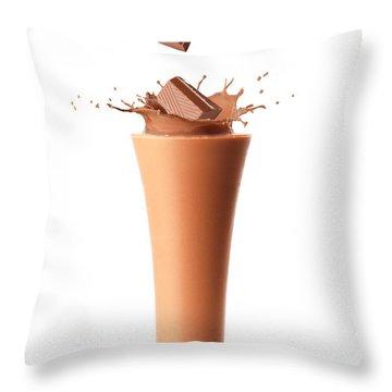 Chocolate Milkshake Smoothie Throw Pillow by Amanda Elwell