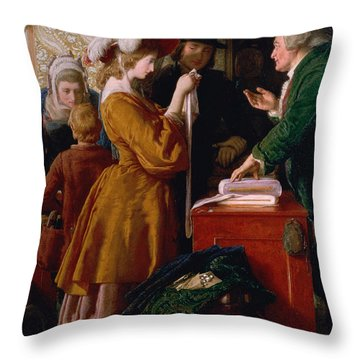 Choosing The Wedding Gown From Chapter 1 Of 'the Vicar Of Wakefield' Throw Pillow by William Mulready
