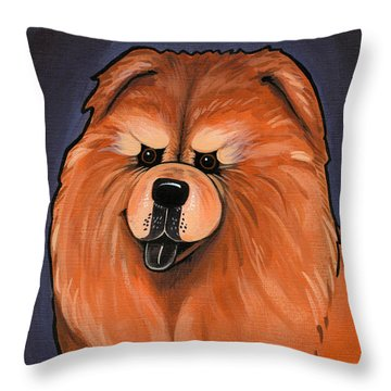 Chow Chow Throw Pillow by Leanne Wilkes