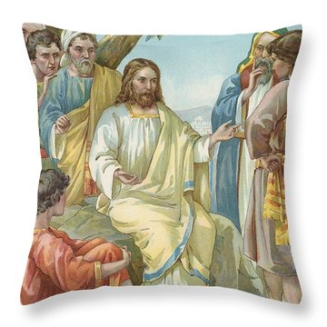 Christ And His Disciples Throw Pillow by Ambrose Dudley