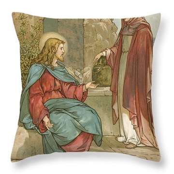 Christ And The Woman Of Samaria Throw Pillow by John Lawson