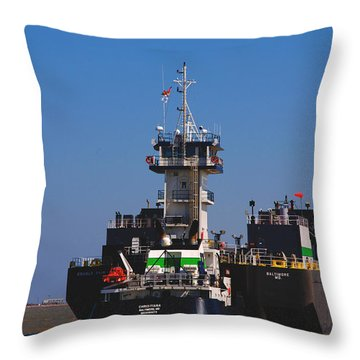 Christiana Oil Tanker Sitting In Galveston Tx Throw Pillow by Susanne Van Hulst
