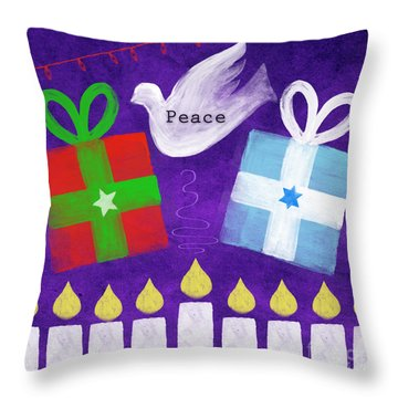 Christmas And Hanukkah Peace Throw Pillow by Linda Woods