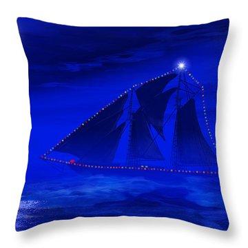 Christmas At Sea Throw Pillow