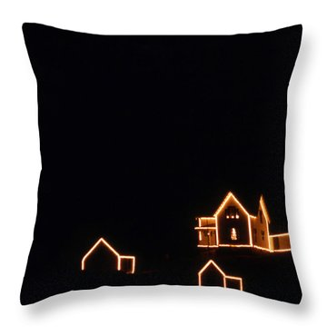 Christmas At The Nubble Throw Pillow by Skip Willits